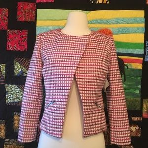 NWT Halogen Pink Yellow Geo Tweed Blazer